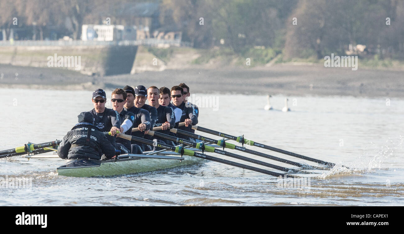 River Thames, London, UK. 06/04/2012. The 158th Xchanging Oxford & Cambridge Universities Boat Race.  Practice - Stock Image