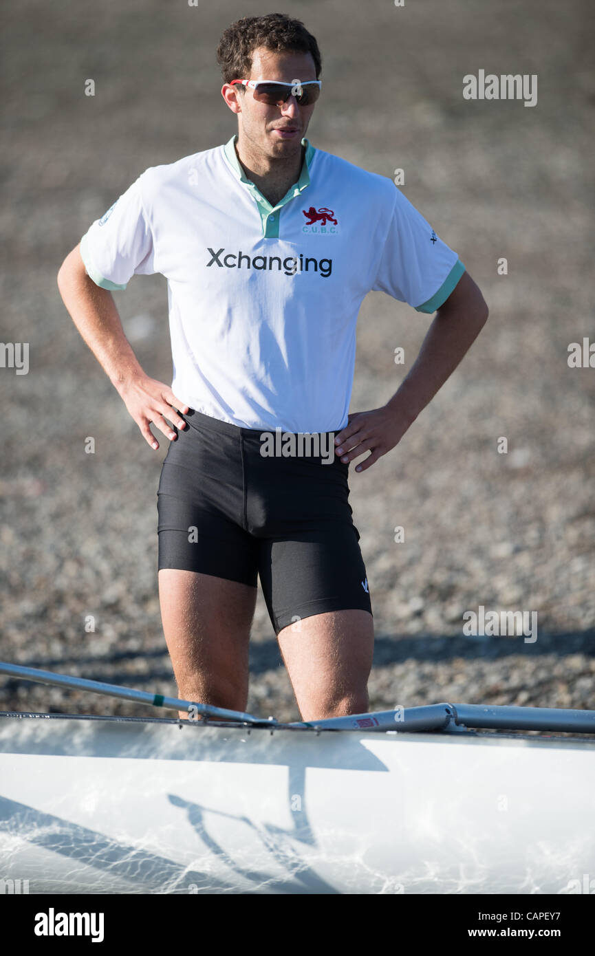 River Thames, London, UK. 06/04/2012. The 158th Xchanging Oxford & Cambridge Universities Boat Race.  Alex Ross - Stock Image
