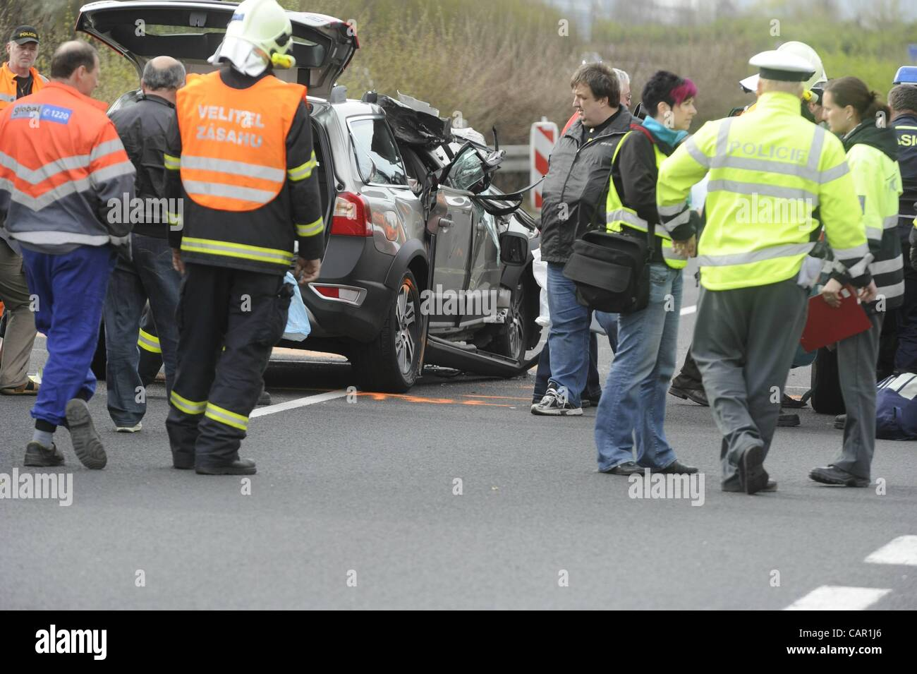 Car accident at the highway D8 by which a female passenger died in