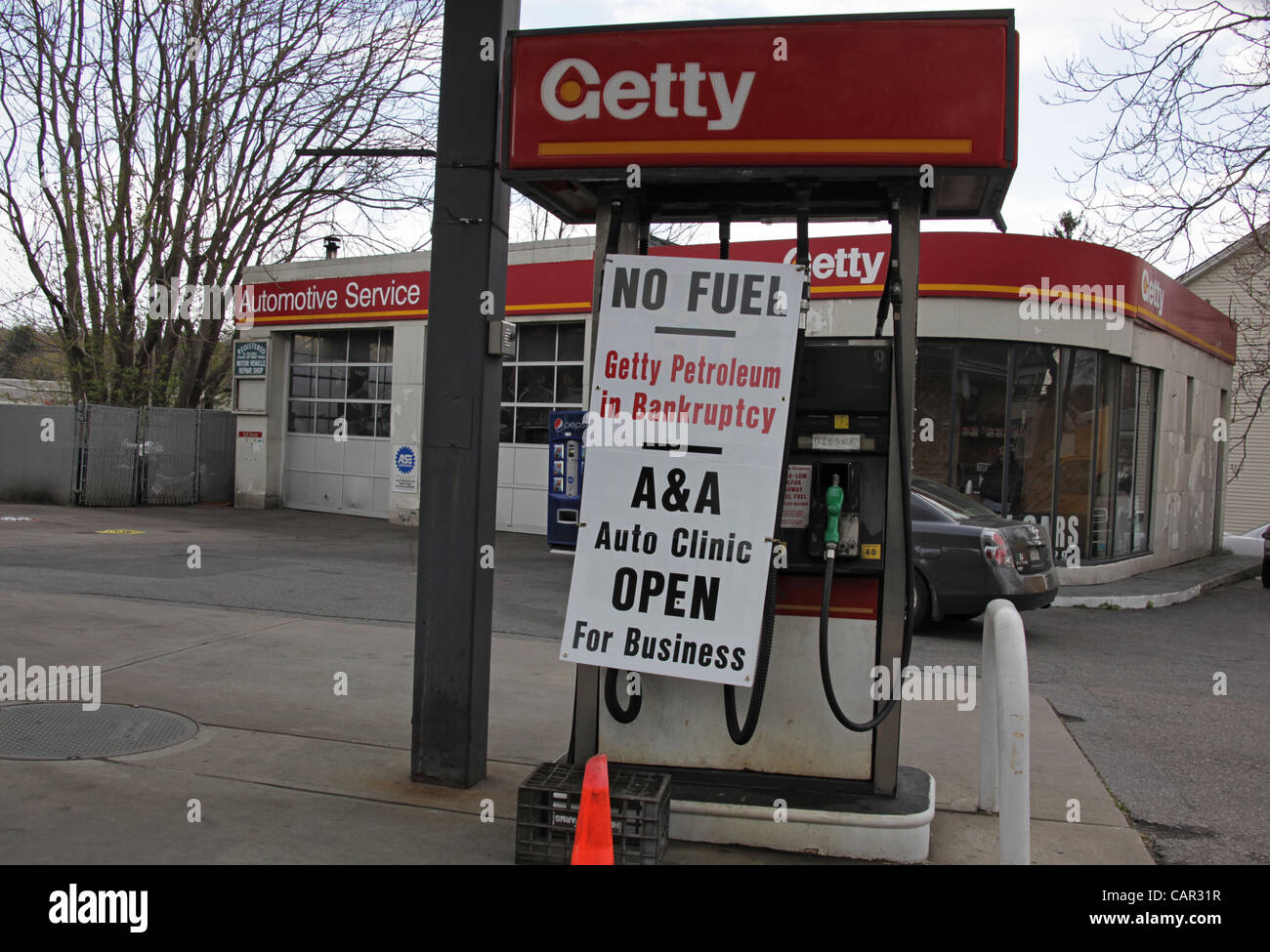 having just run out of fuel a sign is hung on the gas pumps at a stock photo 41074595 alamy. Black Bedroom Furniture Sets. Home Design Ideas
