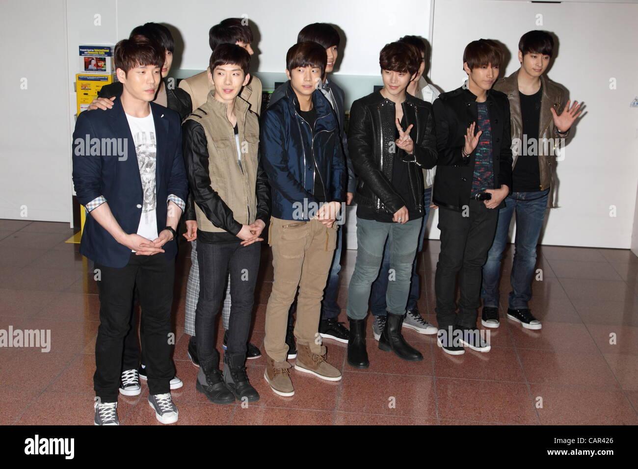 April 10, 2012, Tokyo, Japan - Korean pop group '2PM 2AM' arrives at