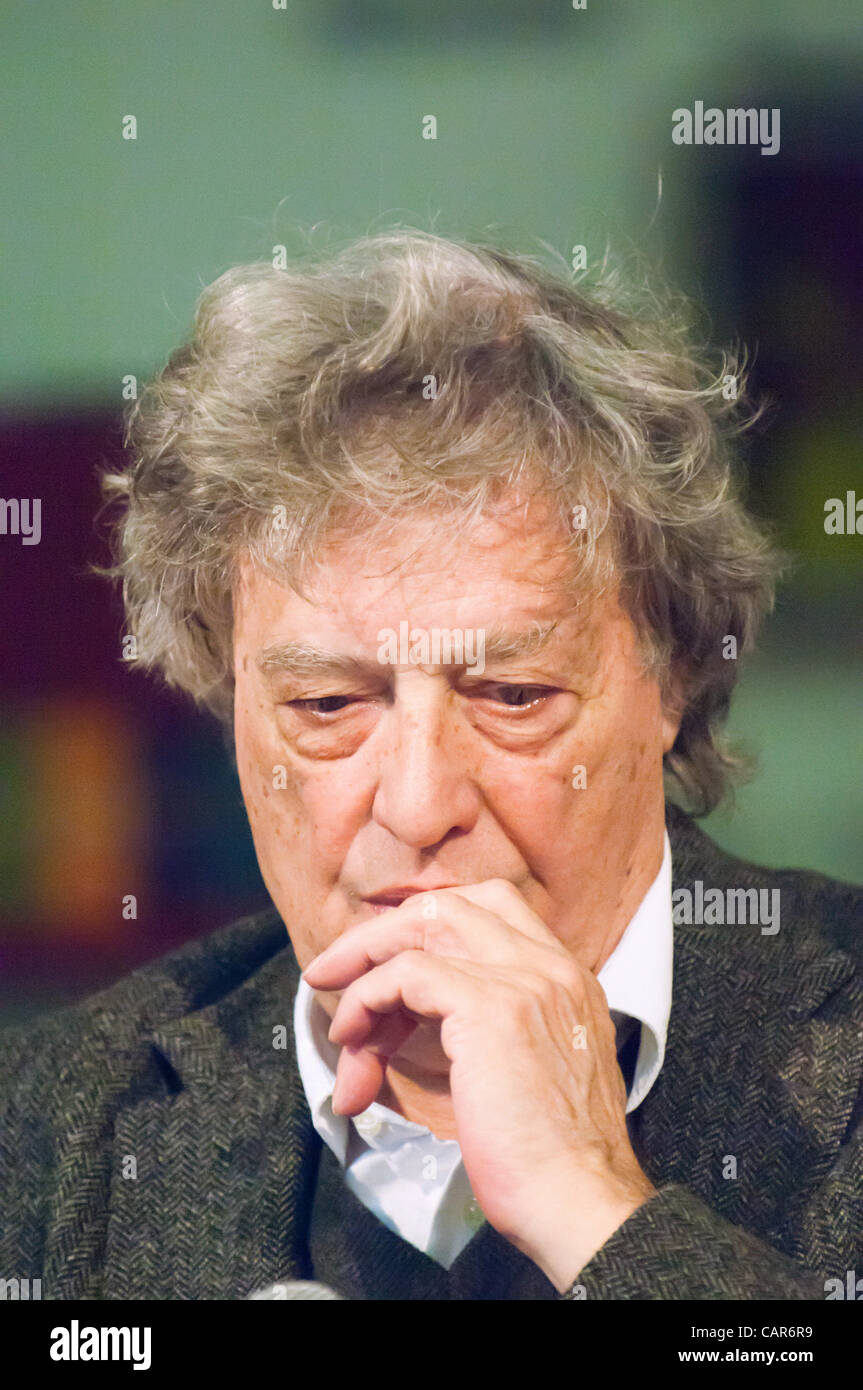 Sir Tom Stoppard at a press conference at the India Theatre in Rome, Italy, with members of the Belarus Free Theatre, - Stock Image