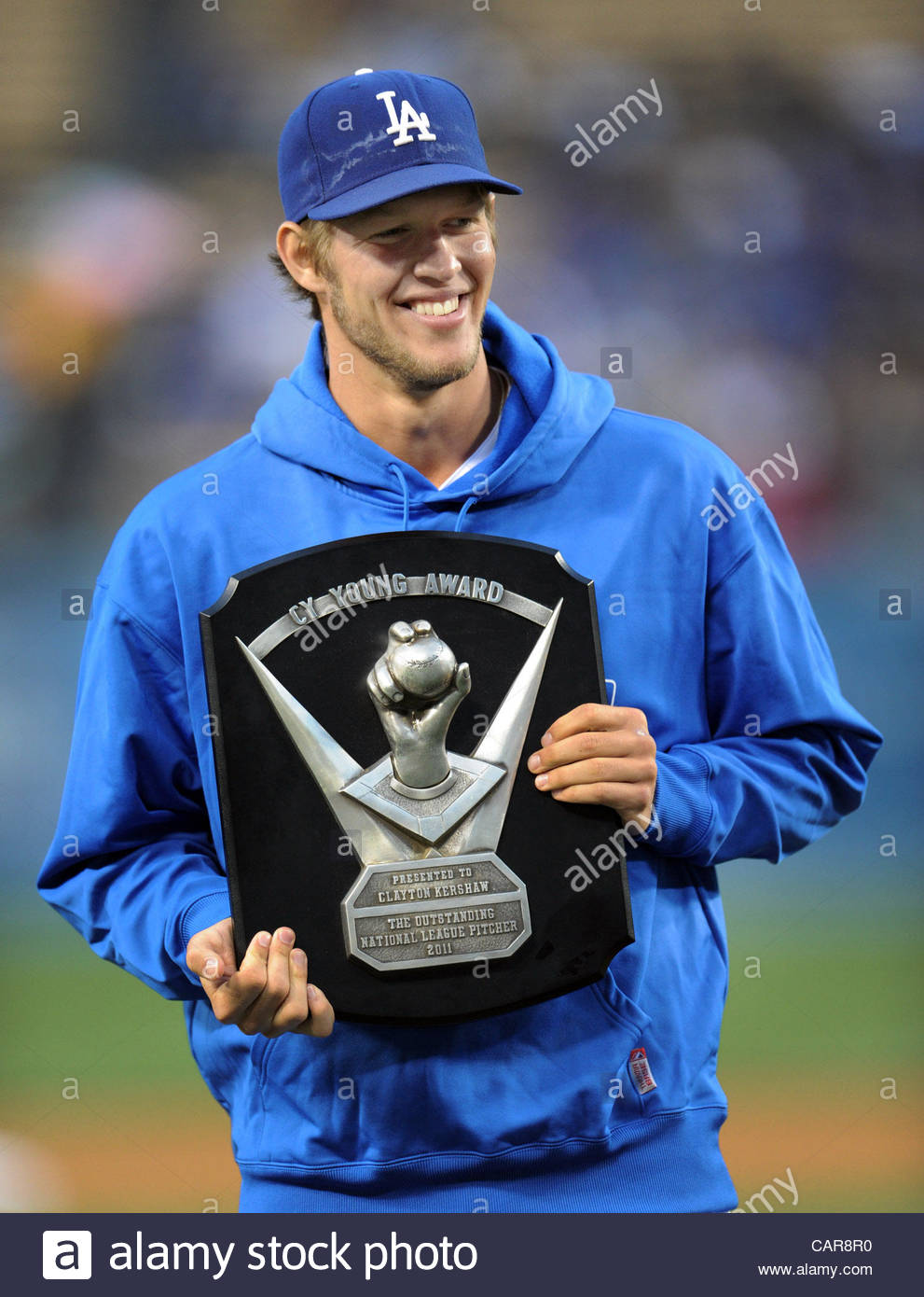 Los Angeles Dodgers' Clayton Kershaw earned the 'Cy Young' award prior to a baseball game against the - Stock Image