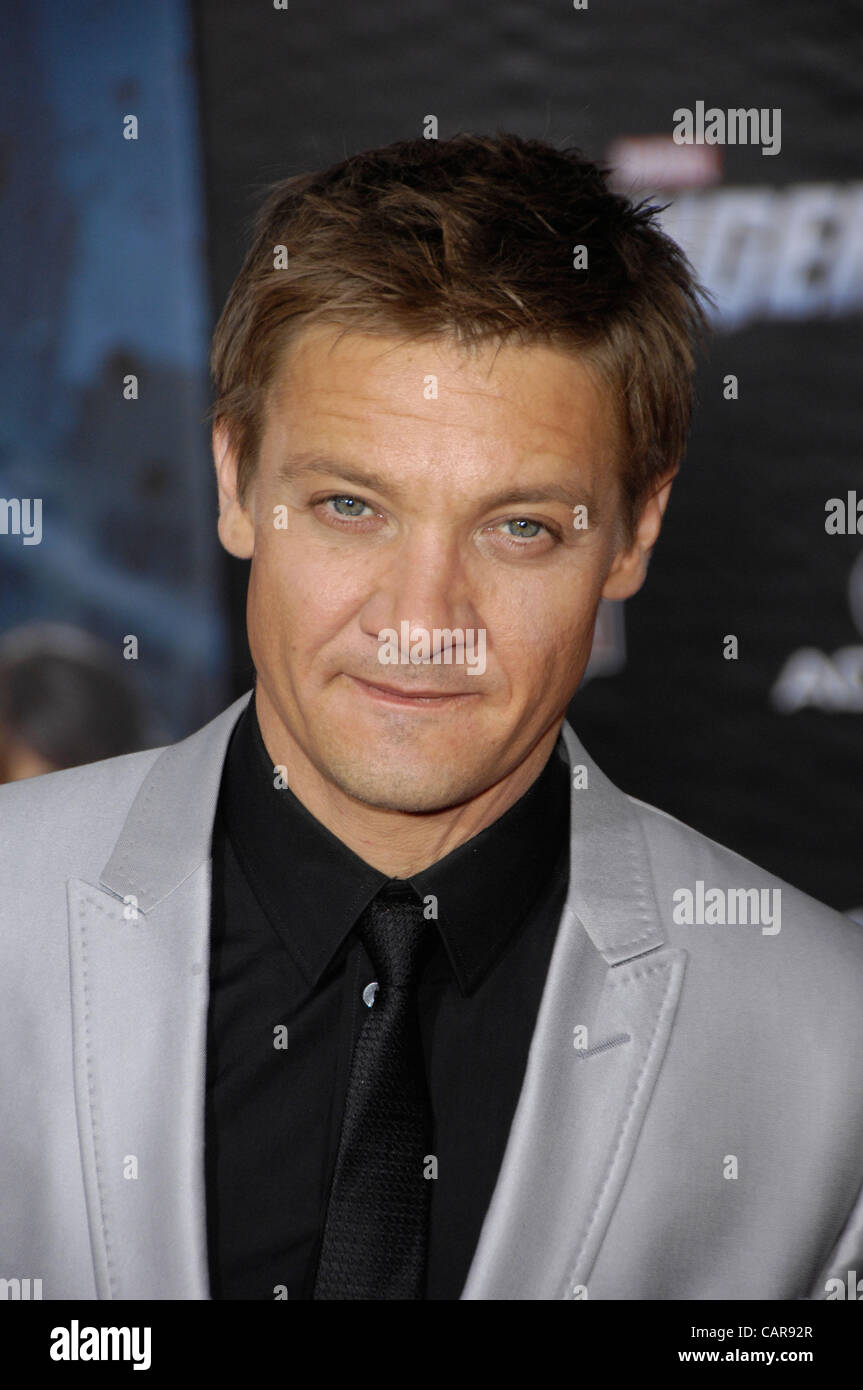 April 12, 2012 - Hollywood, California, U.S. - Jeremy Renner during the premiere of the new movie from Disney MARVEL'S Stock Photo