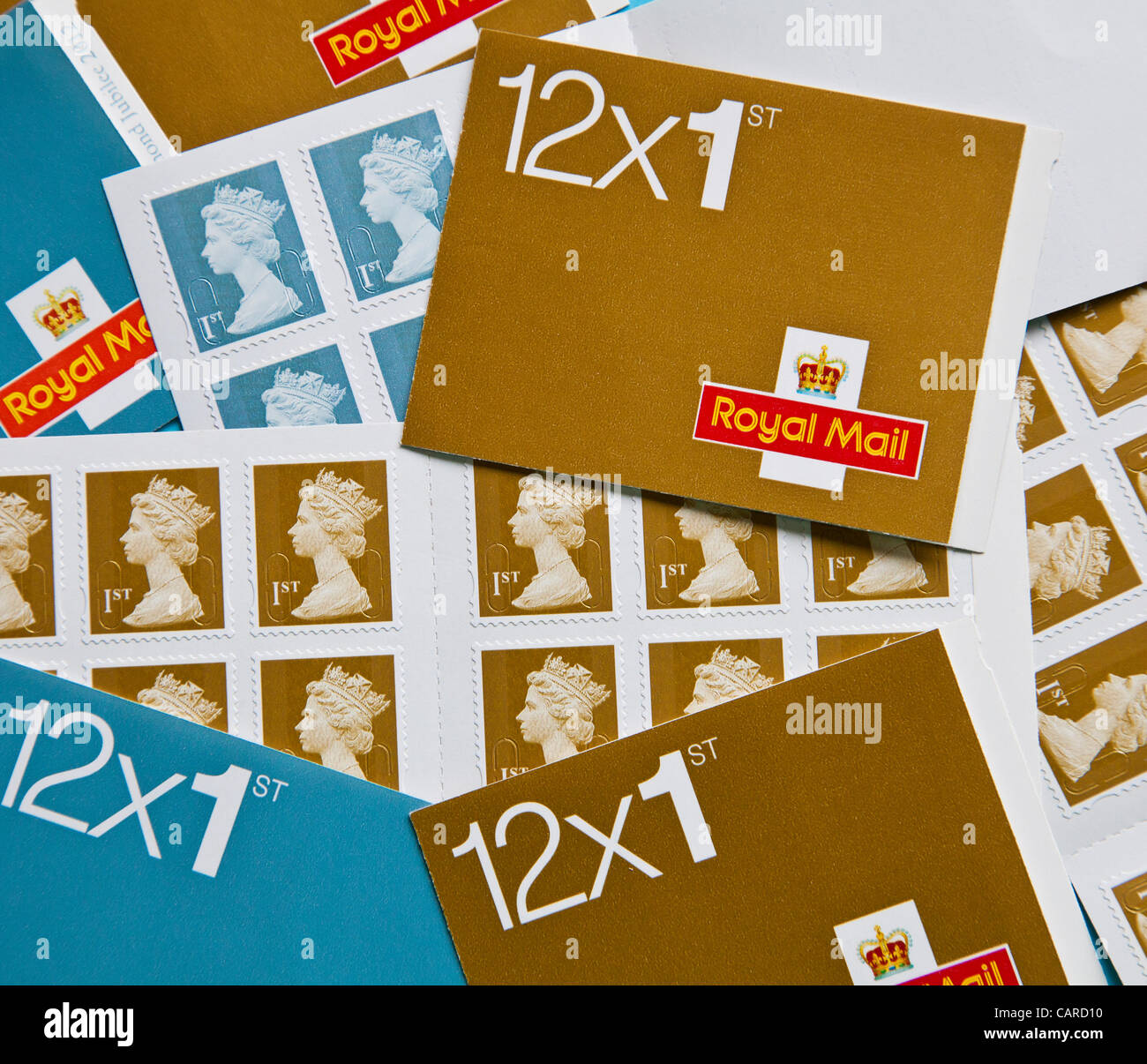 On 30th April Royal Mail will be raising the price of 1st class stamps from 46p to 60p and second class from 36p - Stock Image