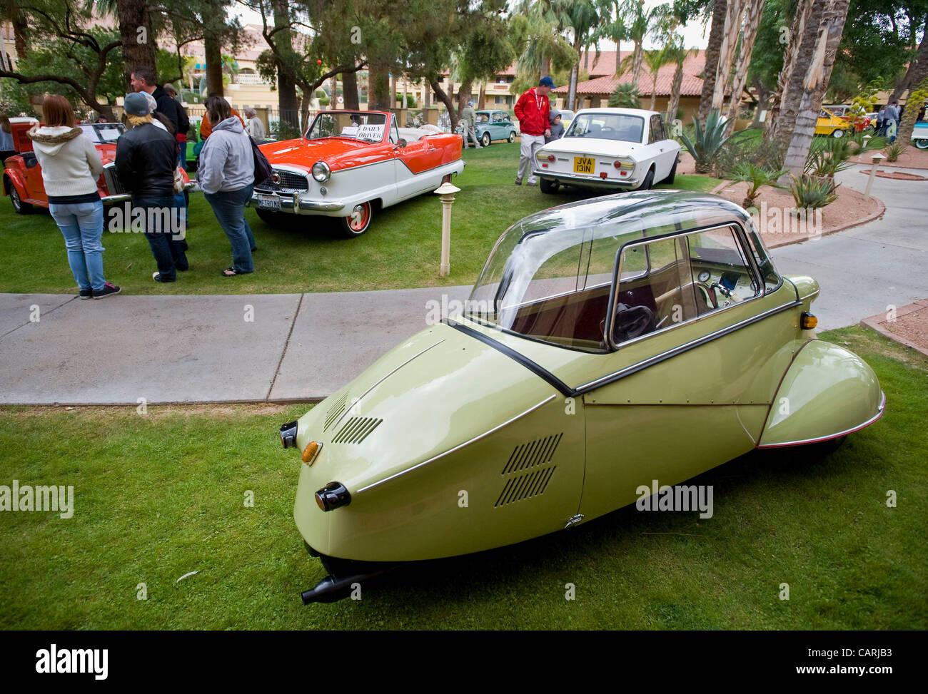 April 14, 2012 - Phoeniz, Arizona, U.S. -  A 1954 Messerschmitt KR 175 Kabineroller is one of some 60 micro and Stock Photo