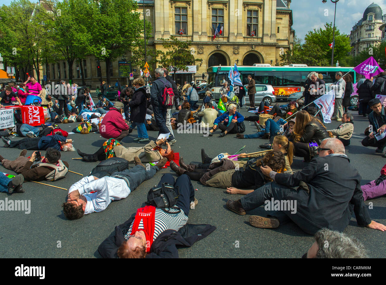 Paris, France, French Hos-pital Personal Protest with 'Collectif Notre Santé en Danger'  Health and - Stock Image
