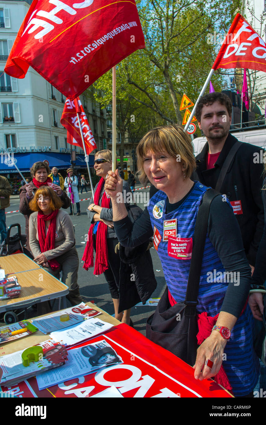 Paris, France, Public Hospital Personal Protest with 'Front de Gauche'  Health and Social Issues , Woman, - Stock Image
