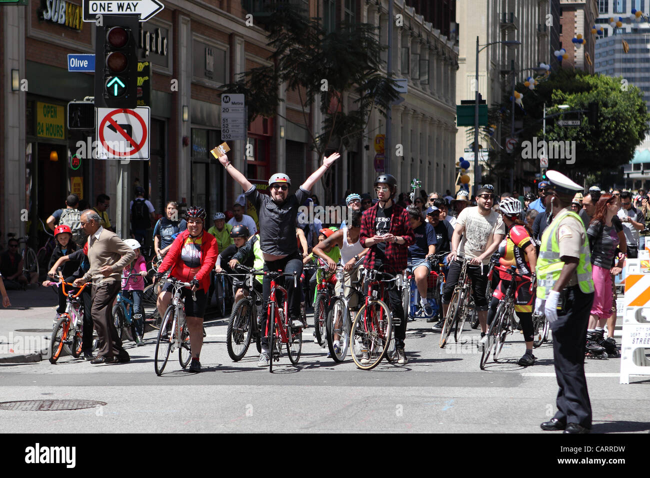 APRIL 15, 2012. Roads in Los Angeles, USA are temporarily closed to motorized traffic for CicLAvia. Pedestrians, Stock Photo