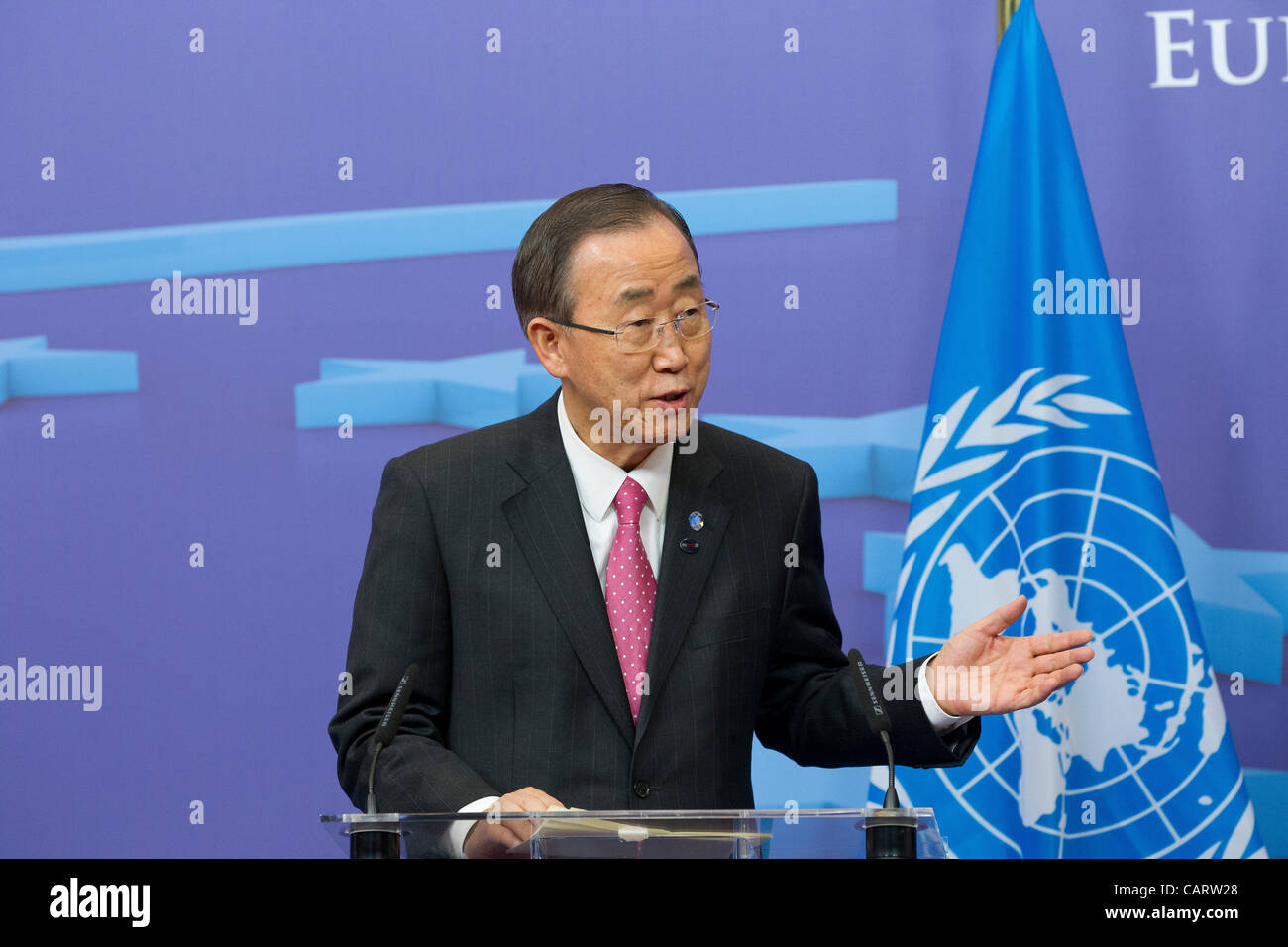 Secretary General of the United Nations Ban Ki-Moon speaking Stock Photo
