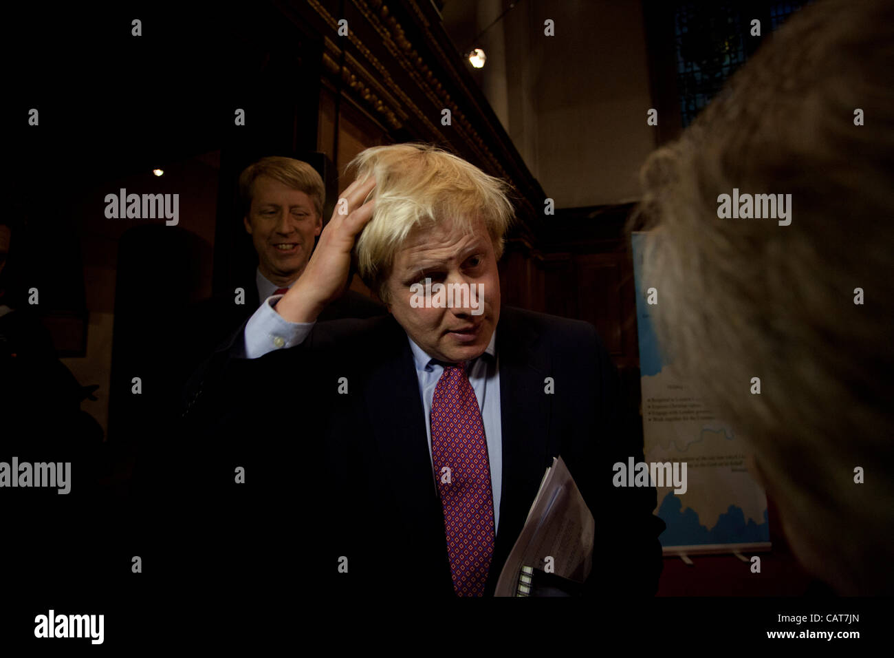 London, UK. 18 April, 2012. Mayor of London Boris Johnson answers a question from a member of the public after the - Stock Image