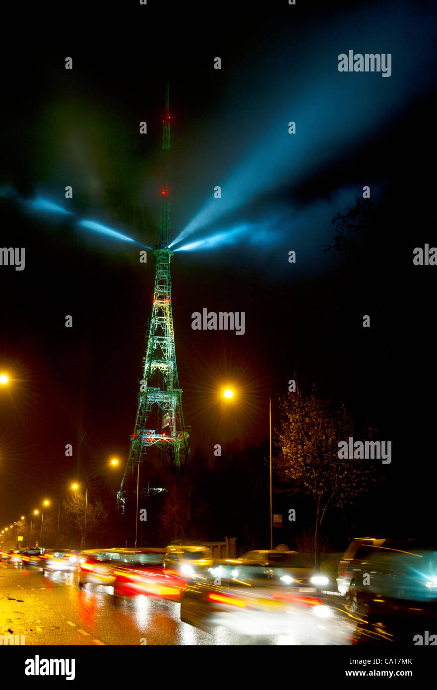 London, UK. 18 April, 2012. Laser light show at the Crystal Palace transmitter to celebrate the switchover from - Stock Image