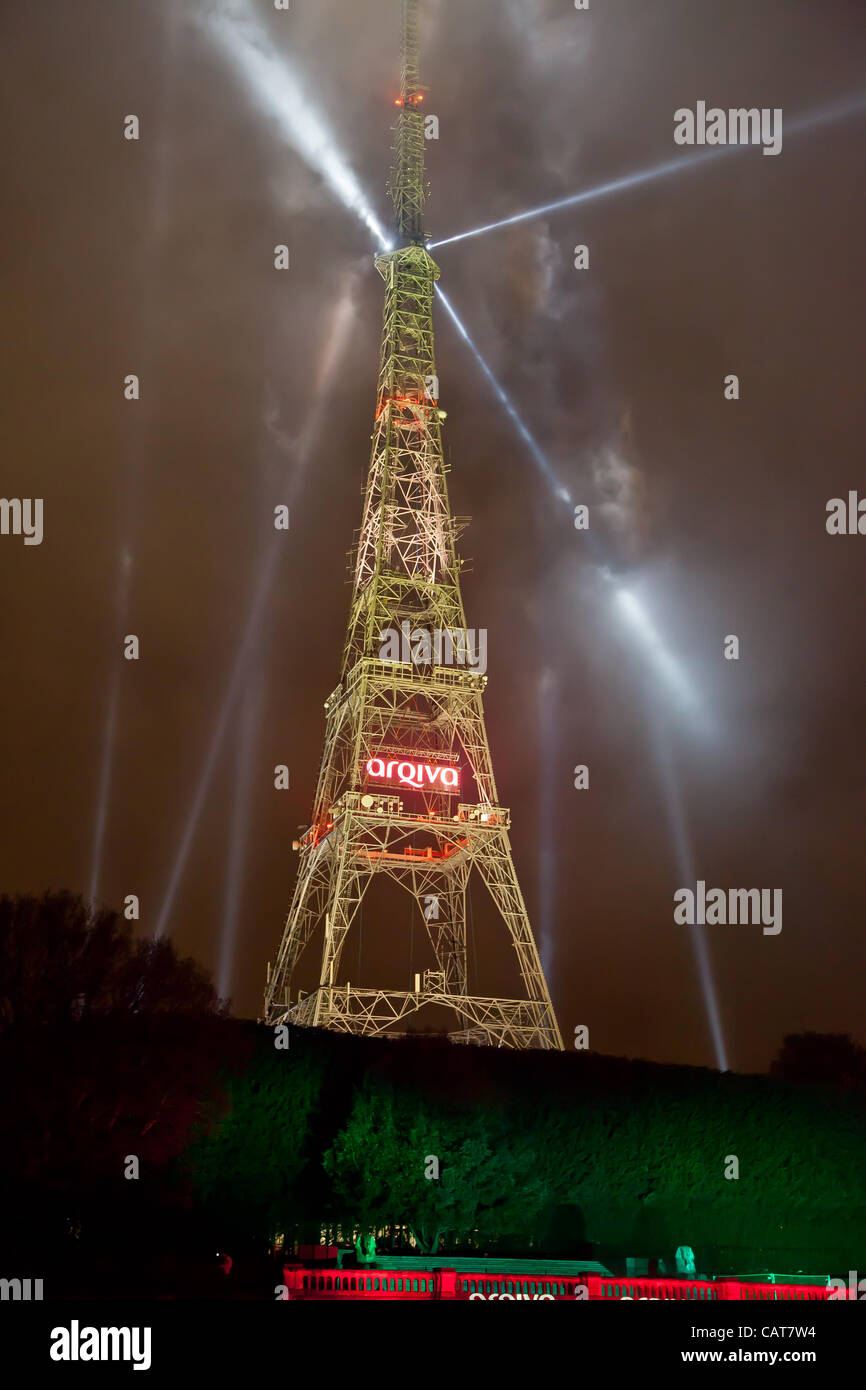 The switch over from analogue to digital TV service's was marked by a spectacular light show at the Crystal Palace - Stock Image