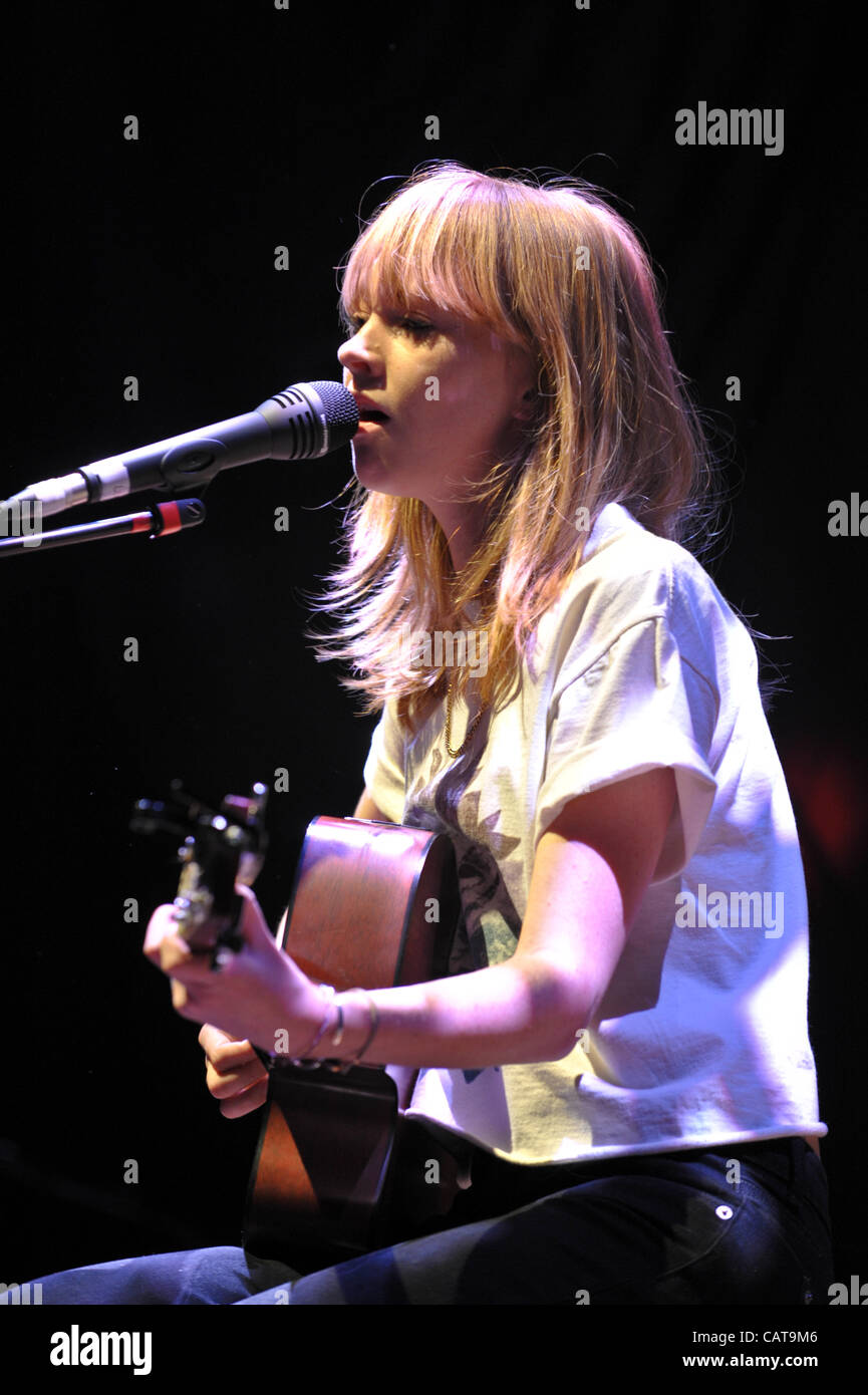 English singer songwriter Lucy Rose performing at Wolverhampton Civic Hall on Tuesday April 17 2012 supporting the Stock Photo