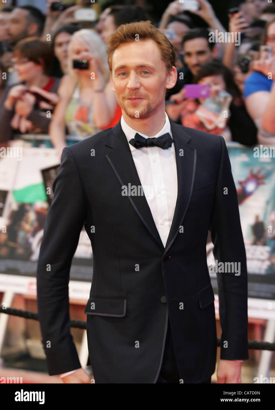Tom Hiddleston attends the Avengers Assemble - UK film premiere at the Vue Westfield, Westfield Shopping Centre - Stock Image