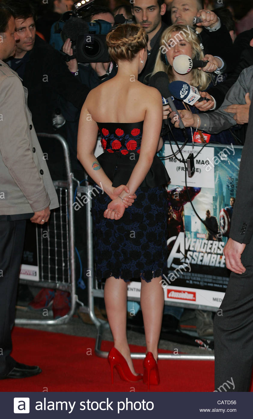 Scarlett Johansson attends the Avengers Assemble - UK film premiere at the Vue Westfield, Westfield Shopping Centre - Stock Image