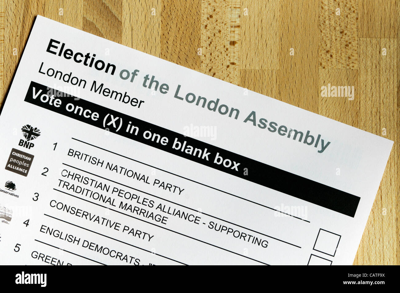 LONDON, UK, 20 April 2012, Local Elections are due to take place in England on 3 May 2012. These will include the - Stock Image