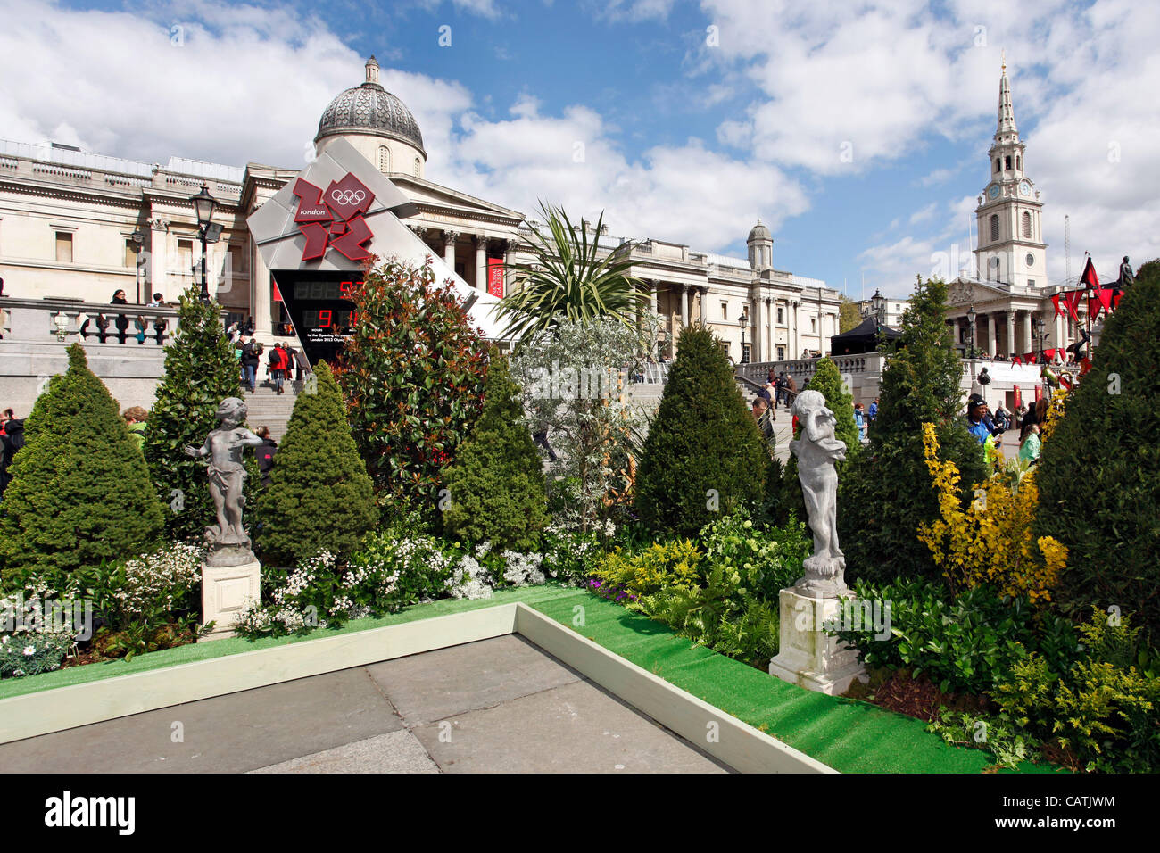 London, UK. Saturday 21st April 2012. Trafalgar Square becomes English Garden for St. George's Day, London Stock Photo