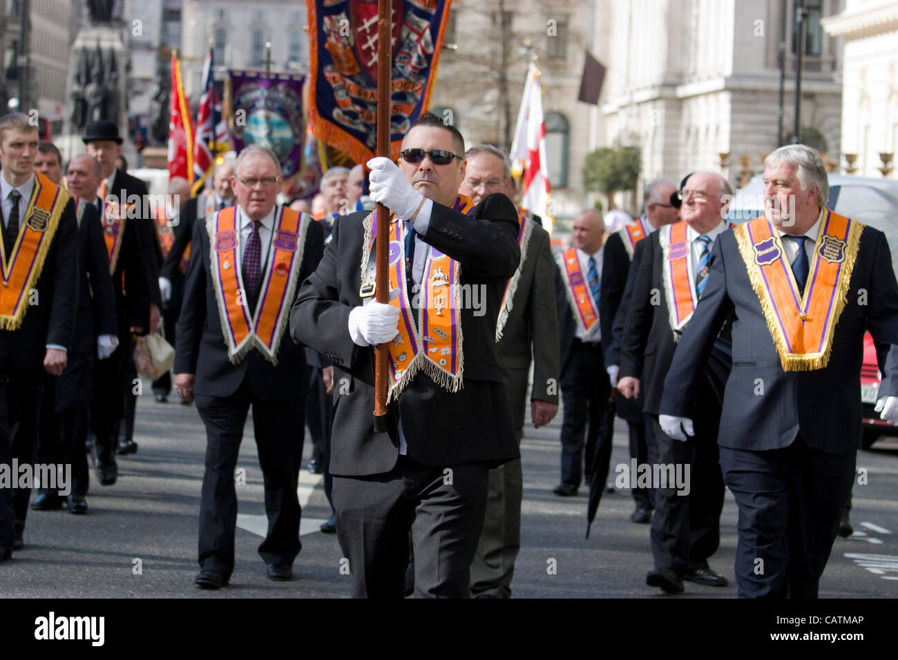 21/04/2012 London UK protestants of the Orange Order march through Central London today, the Orange Lodge, or the - Stock Image