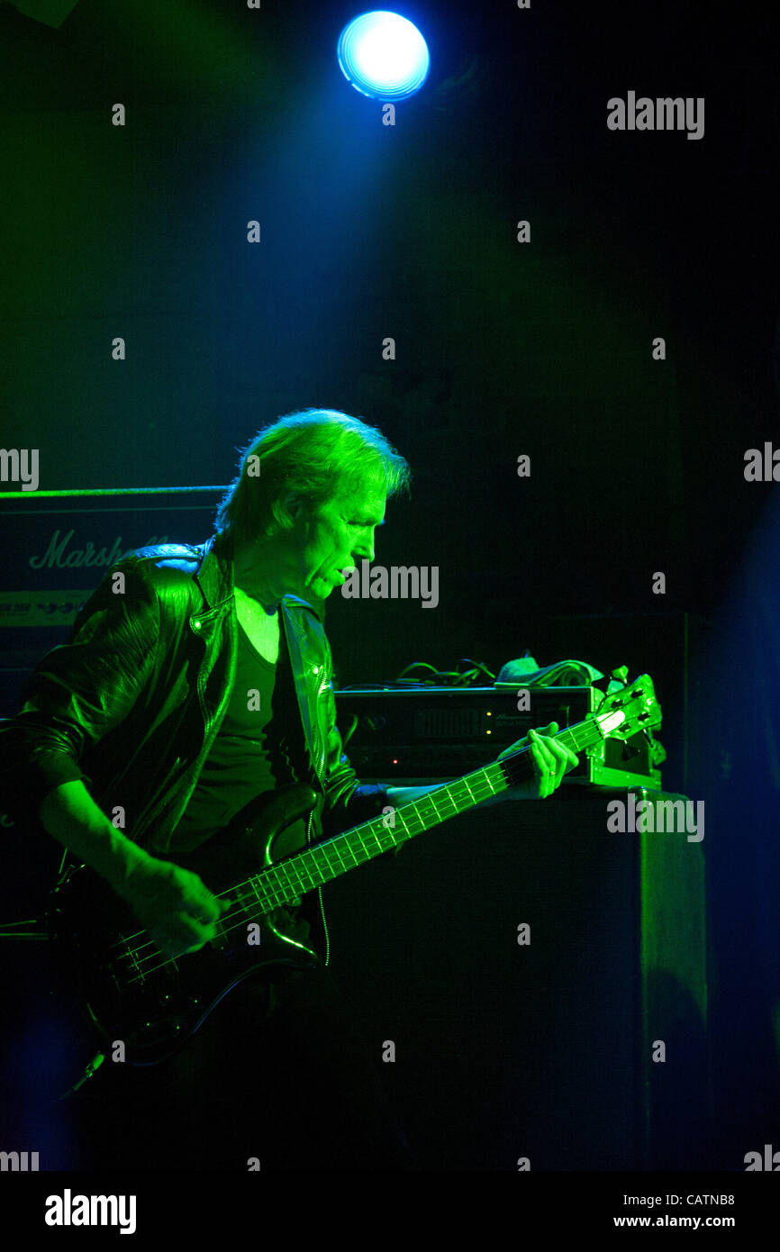 Michael Schenker rock group live concert in Thessaloniki, Greece. April 21, 2012. Pictured: bassist Francis Buchloz - Stock Image