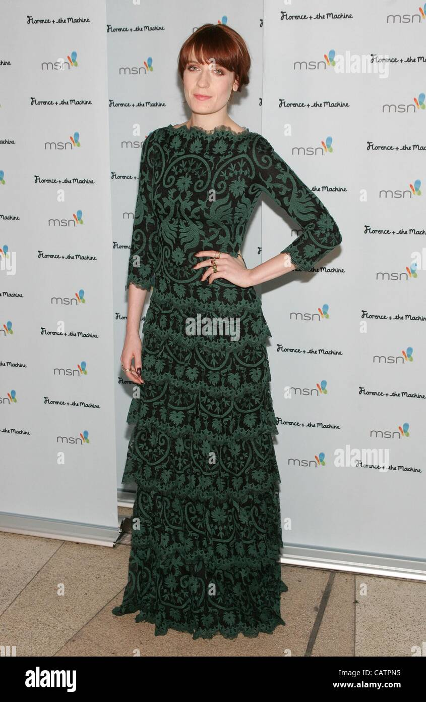 Florence Welch (wearing a Tadashi Shoji dress) at arrivals for Florence + The Machine CEREMONIALS Concert Tour After Stock Photo