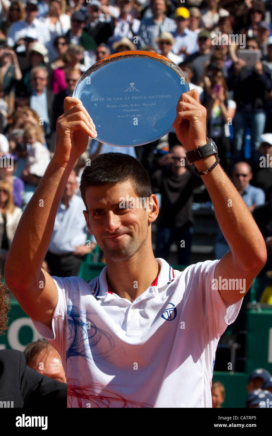 22/04/2012 Monte Carlo, Monaco. Novak Djokovic (SRB) with his trophy for runner up in the final singles at the ATP - Stock Image