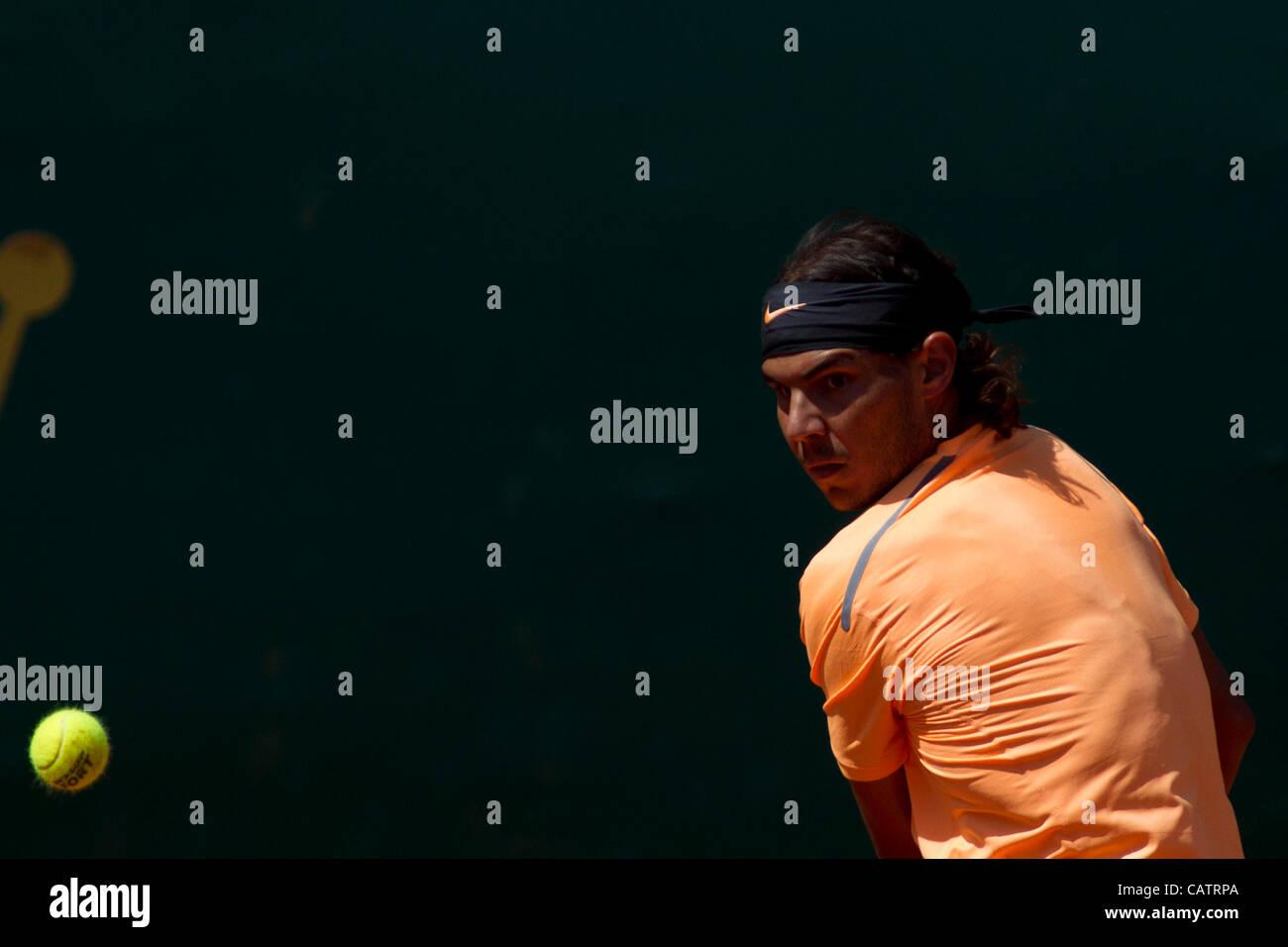 22/04/2012 Monte Carlo, Monaco. Rafael Nadal (ESP) in action during the final singles match between Novak Djokovic - Stock Image