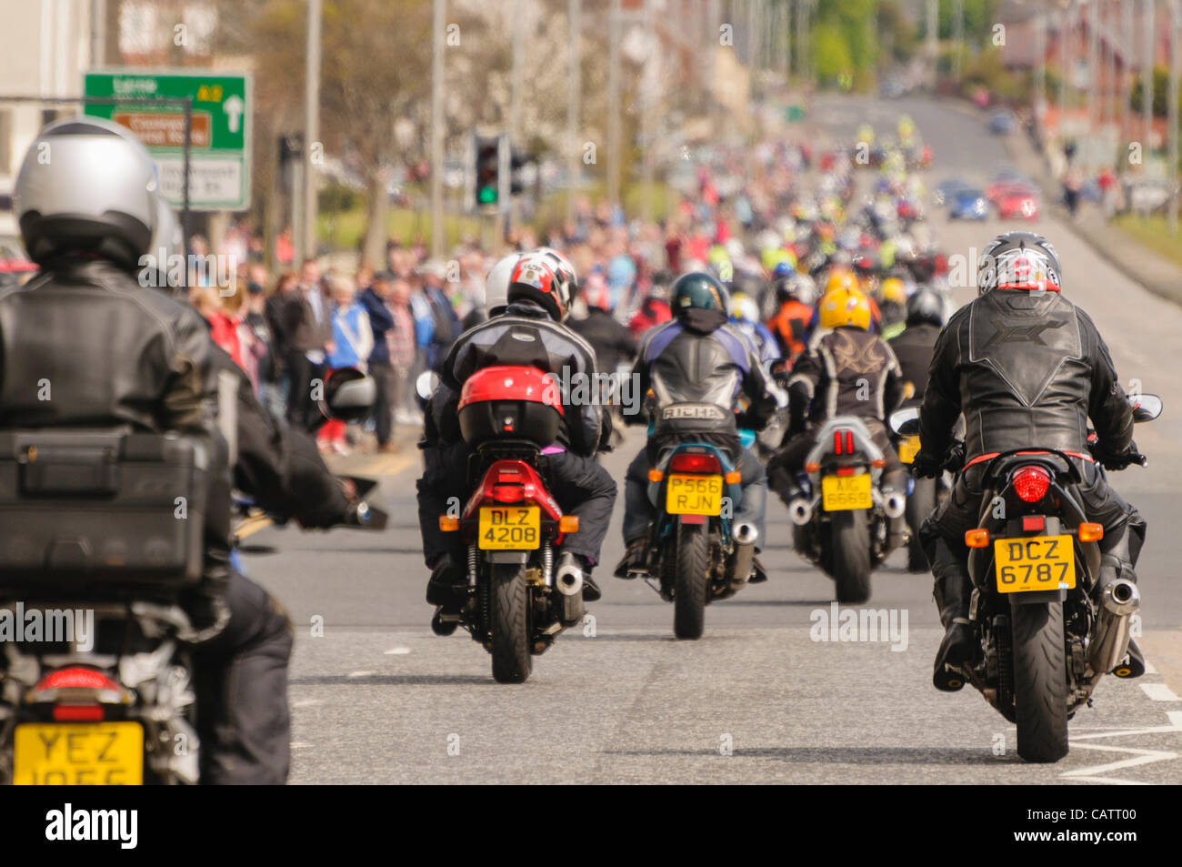 Hundreds of bikers on motorcycles during a charity ride-out. - Stock Image