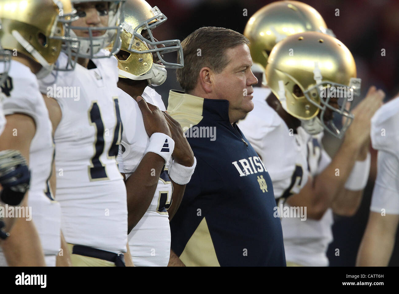 Nov. 26, 2011 - Palo Alto, California, USA - Notre Dame's Head Coach Brian Kelly. The Notre Dame Fighting Irish Stock Photo