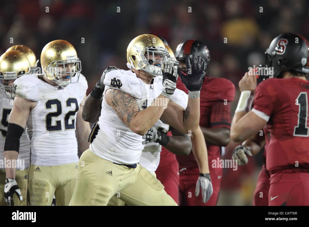 Nov. 26, 2011 - Palo Alto, California, USA - Notre Dame's Aaron Lynch (19). The Notre Dame Fighting Irish was dominated Stock Photo