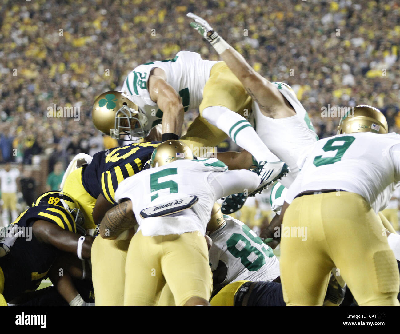 Sept. 10, 2011 - Ann Arbor, Michigan, USA - The Notre Dame Fighting Irish lost to the Michigan Wolverines in the Stock Photo