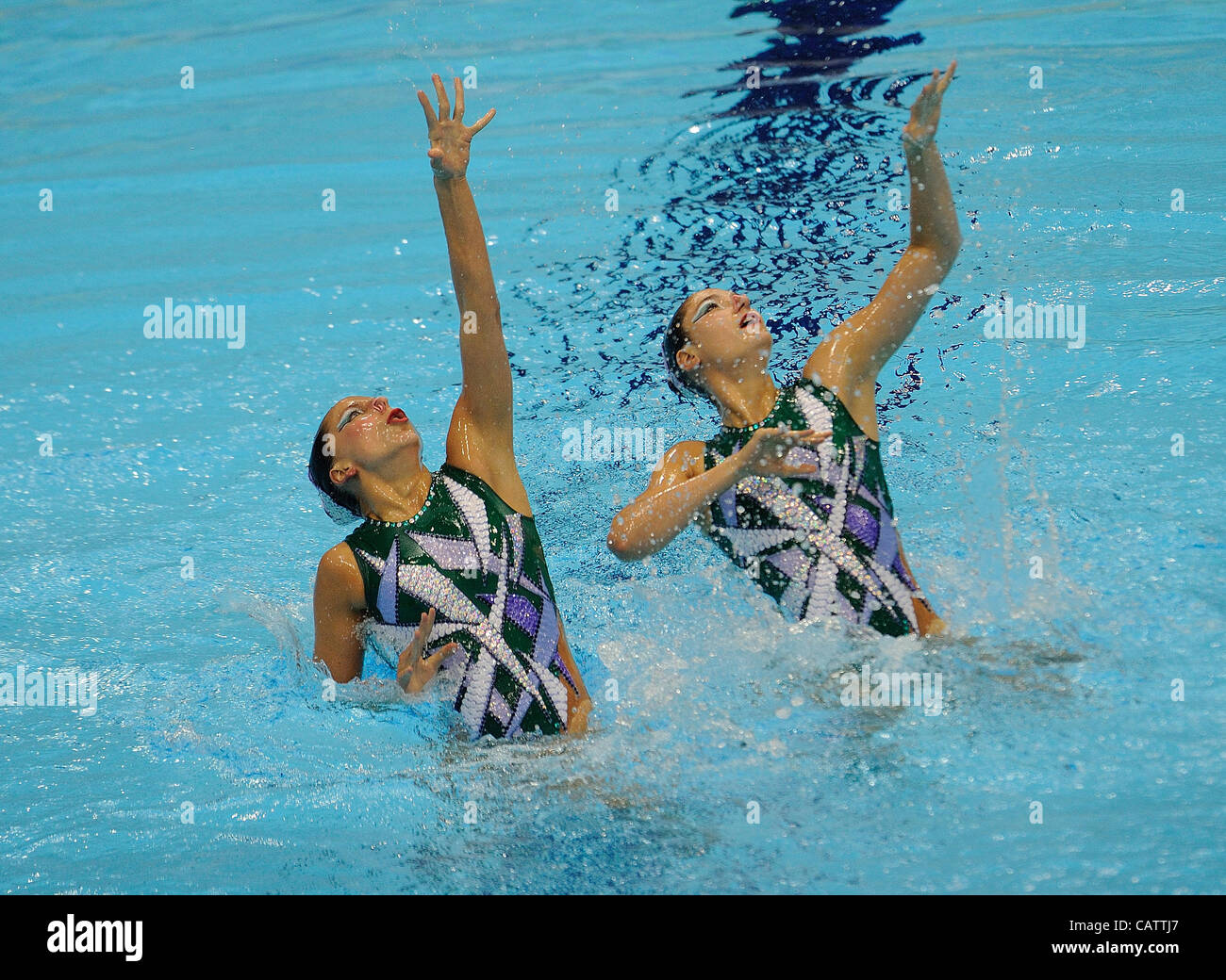 London, England, 22-04-12. Pamela FISHER and Anja NYFFELER (SUI) in the FINA Synchronised Swimming Qualifications. - Stock Image