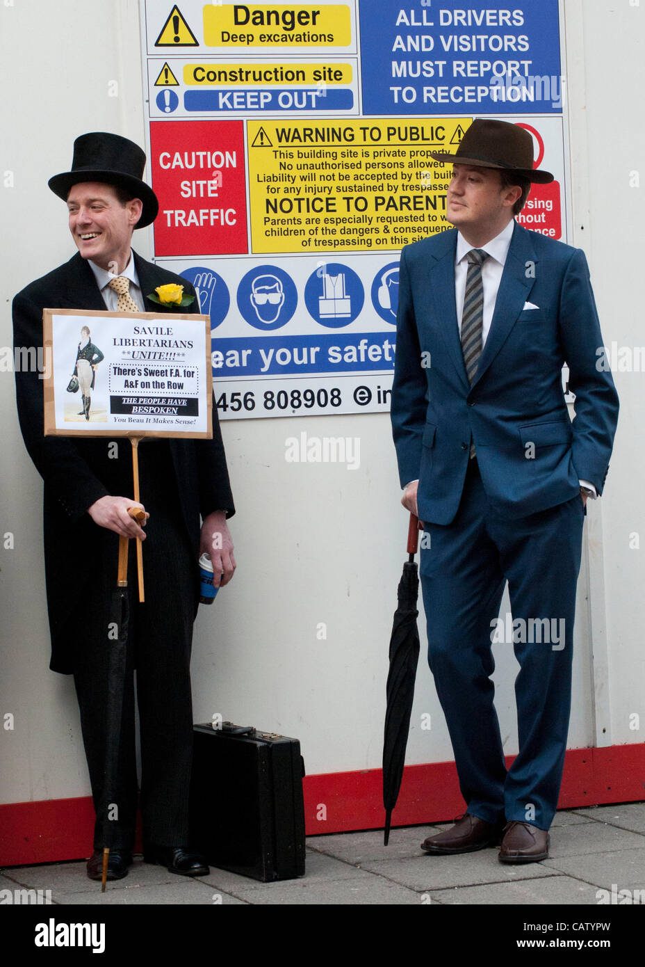 London, UK. 23/04/12. Chaps and Chapettes from the New Sheridan Club holding their St George's Day protest at - Stock Image