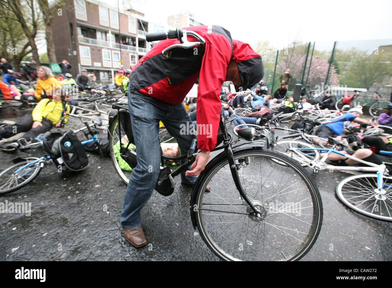 London,UK,23/04/2012.  Die in protest  staged by cyclists angry at Addison Lee Chairman John  Griffin's alleged - Stock Image