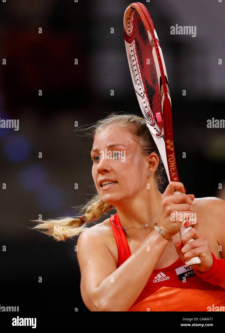 Angelique KERBER (GER) Aktion Aufschlag,  Portrait, Kopf, Gesicht, Tennisball, Einzelbild   beim Porsche Tennis - Stock Image