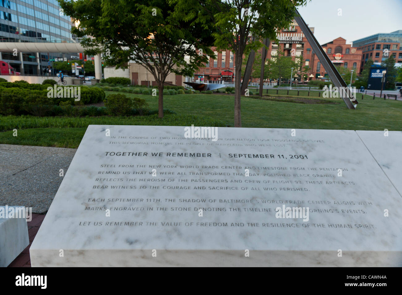 A portion of the Maryland 9/11 Memorial located in Baltimore Inner Harbor in Baltimore, MD, USA in a plaza in front - Stock Image