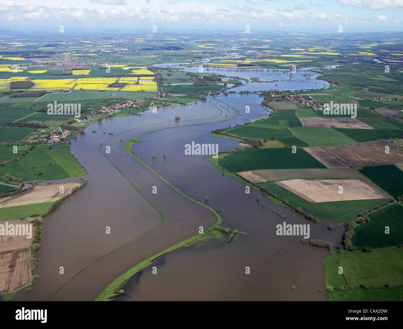 Yorkshire, UK. aerial view of  Yorkshire's River Derwent floods - Stock Image