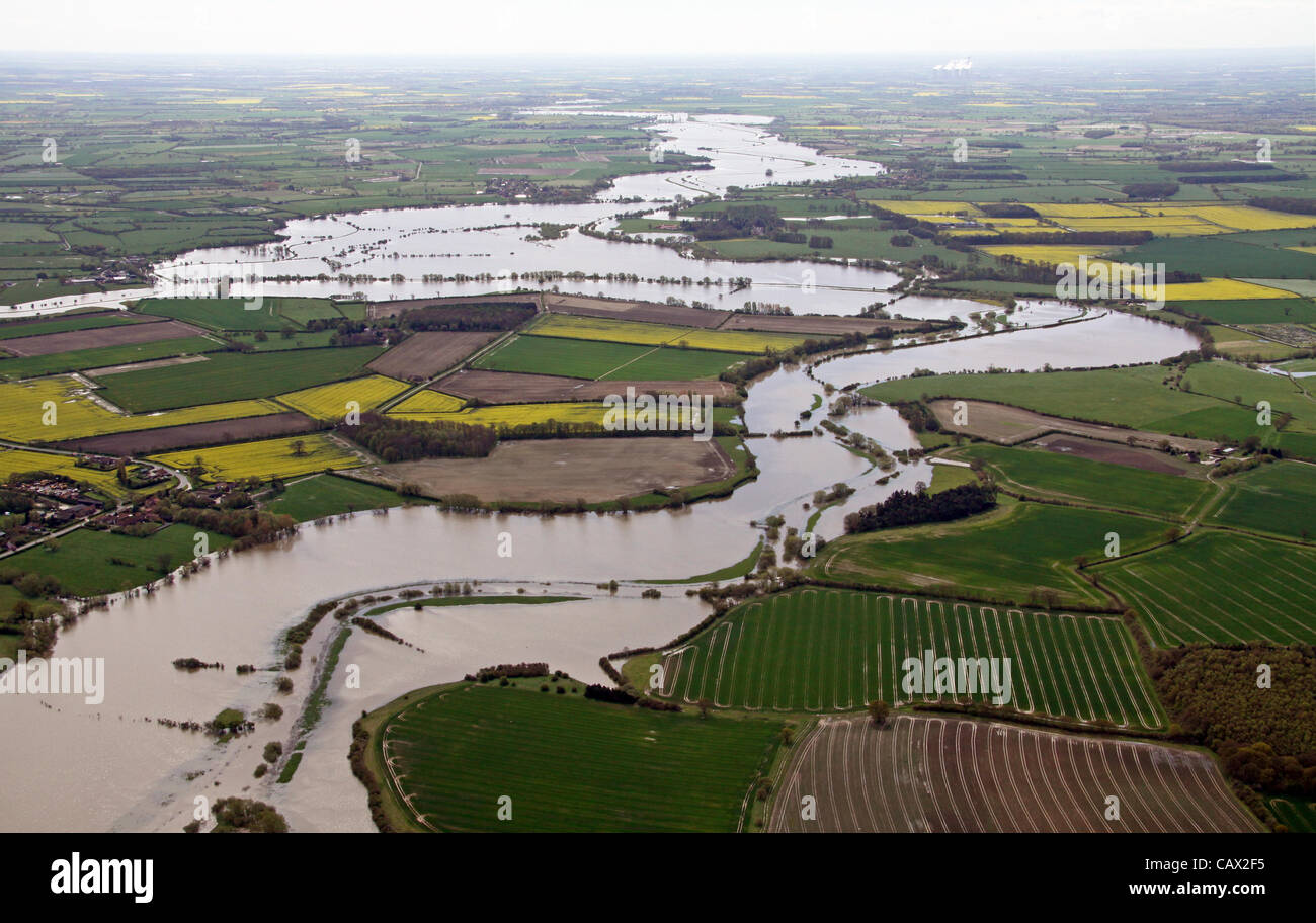 Yorkshire, UK aerial view of  Yorkshire's River Derwent floods - Stock Image