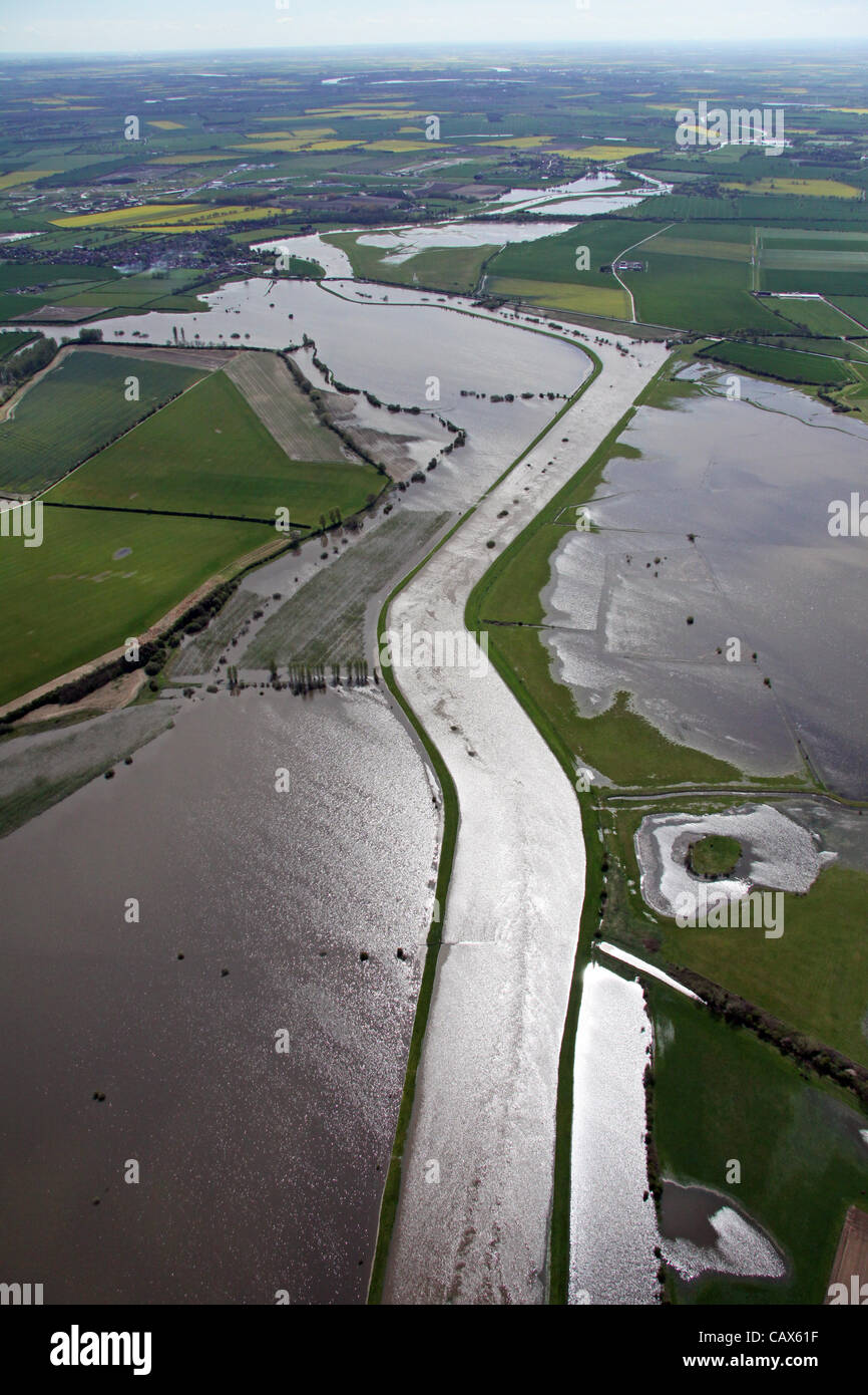 aerial view of Yorkshire's River Derwent floods, Yorkshire, UK - Stock Image