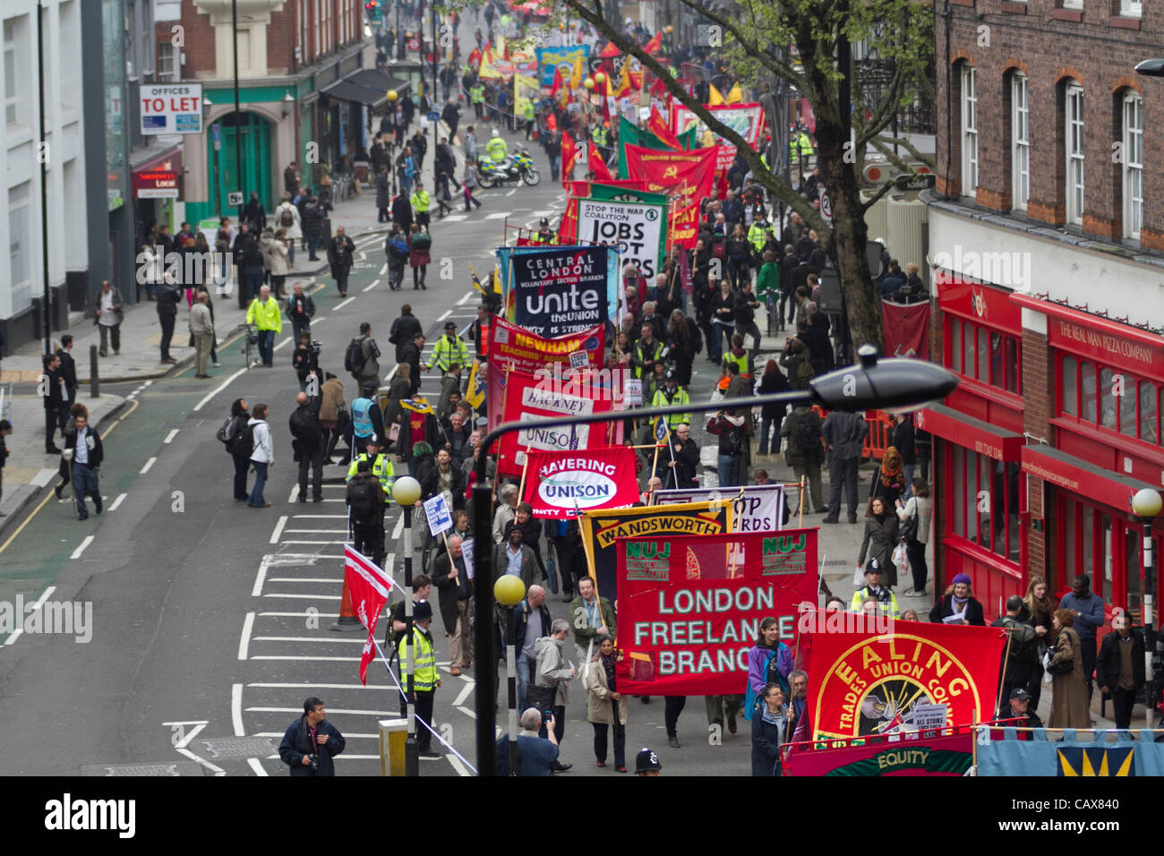 London, UK. 1st May 2012. Trade unionists, workers, union organizations and communities in London gathered for the - Stock Image