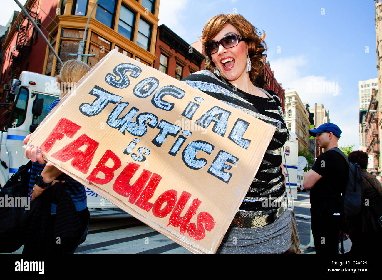 Protester's sign at May Day protest (International Workers Day) in Manhattan, New York City. May1, 2012. - Stock Image