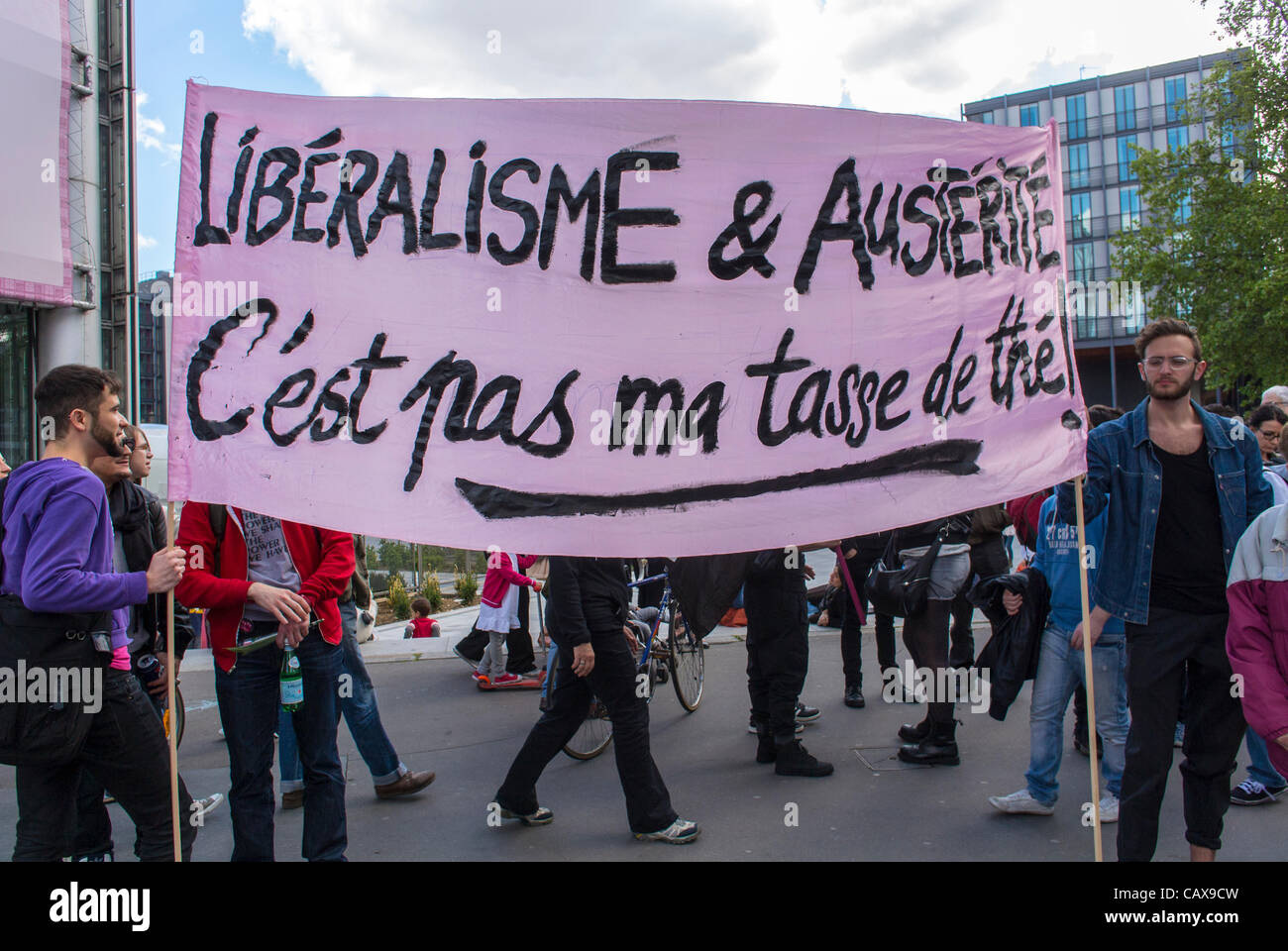 Paris, France,  French Gay NGO's, 'Pink Panthers' Demonstrate in Annual May Day 'Liberalism and - Stock Image