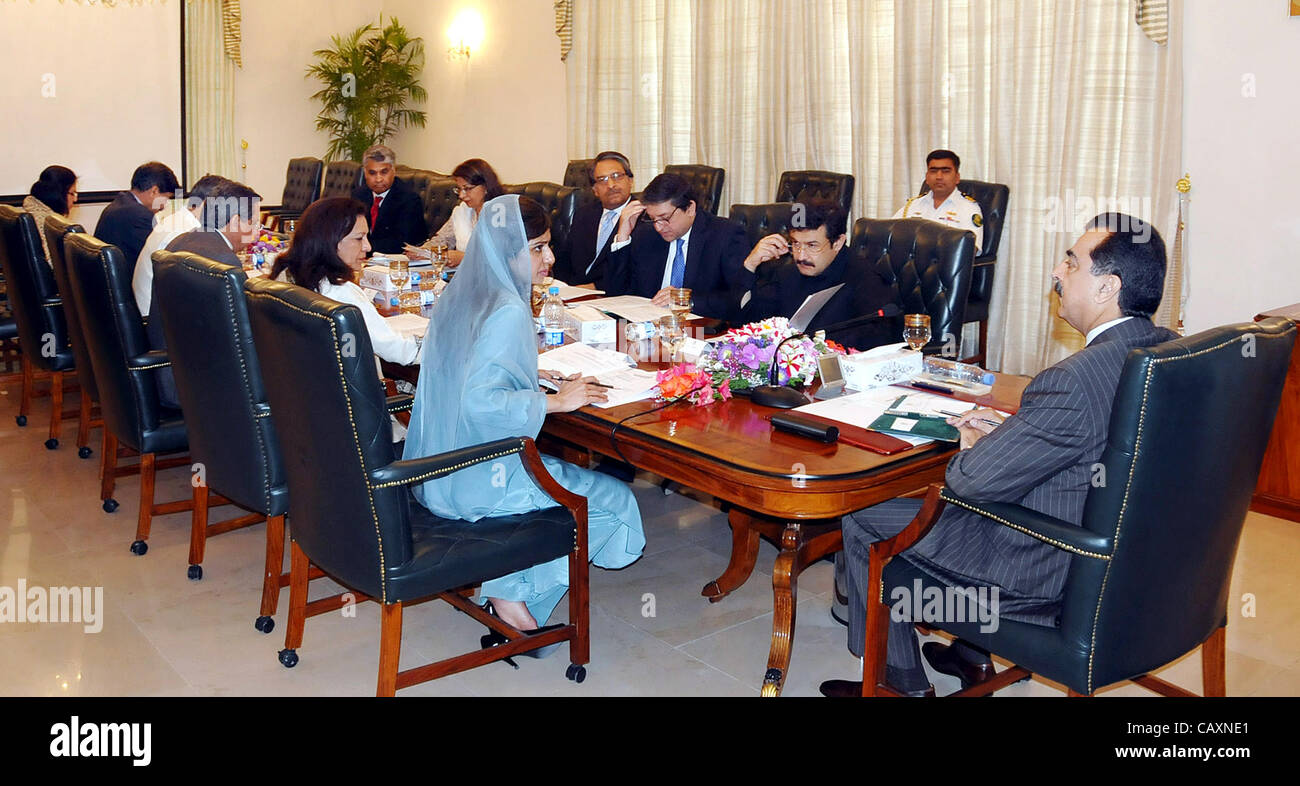 Prime Minister, Syed Yousuf Raza Gilani presides over a meeting on Enhanced Strategic Dialogue held at PM House - Stock Image