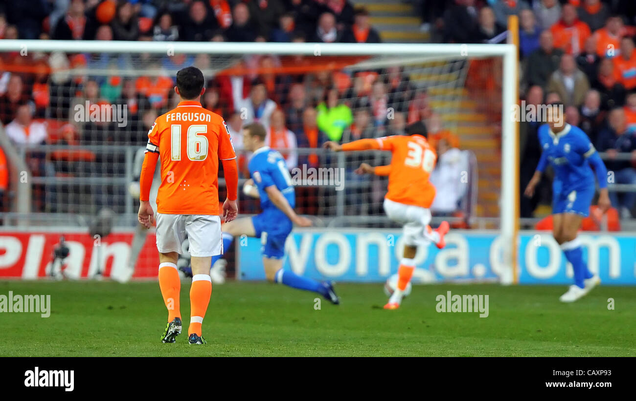 33707d6e6 Blackpool English Midfielder Tom Ince gets his shot away during the NPower  Championship Play Off game played at Bloomfield Road.
