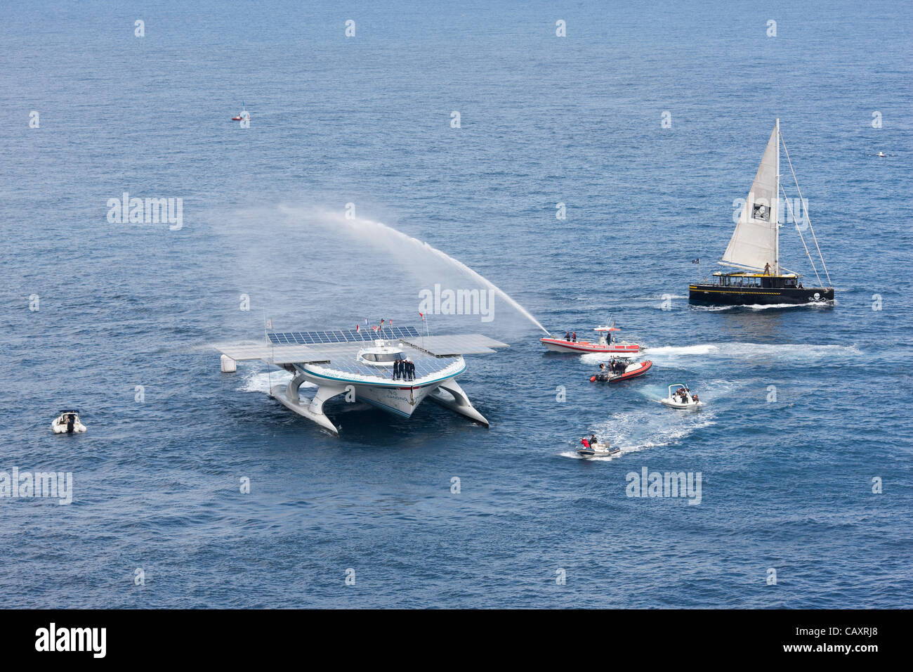 TURANOR PLANETSOLAR CATAMARAN arrives in Monaco on May 04, 2012. It is the first circumnavigation of the world on - Stock Image