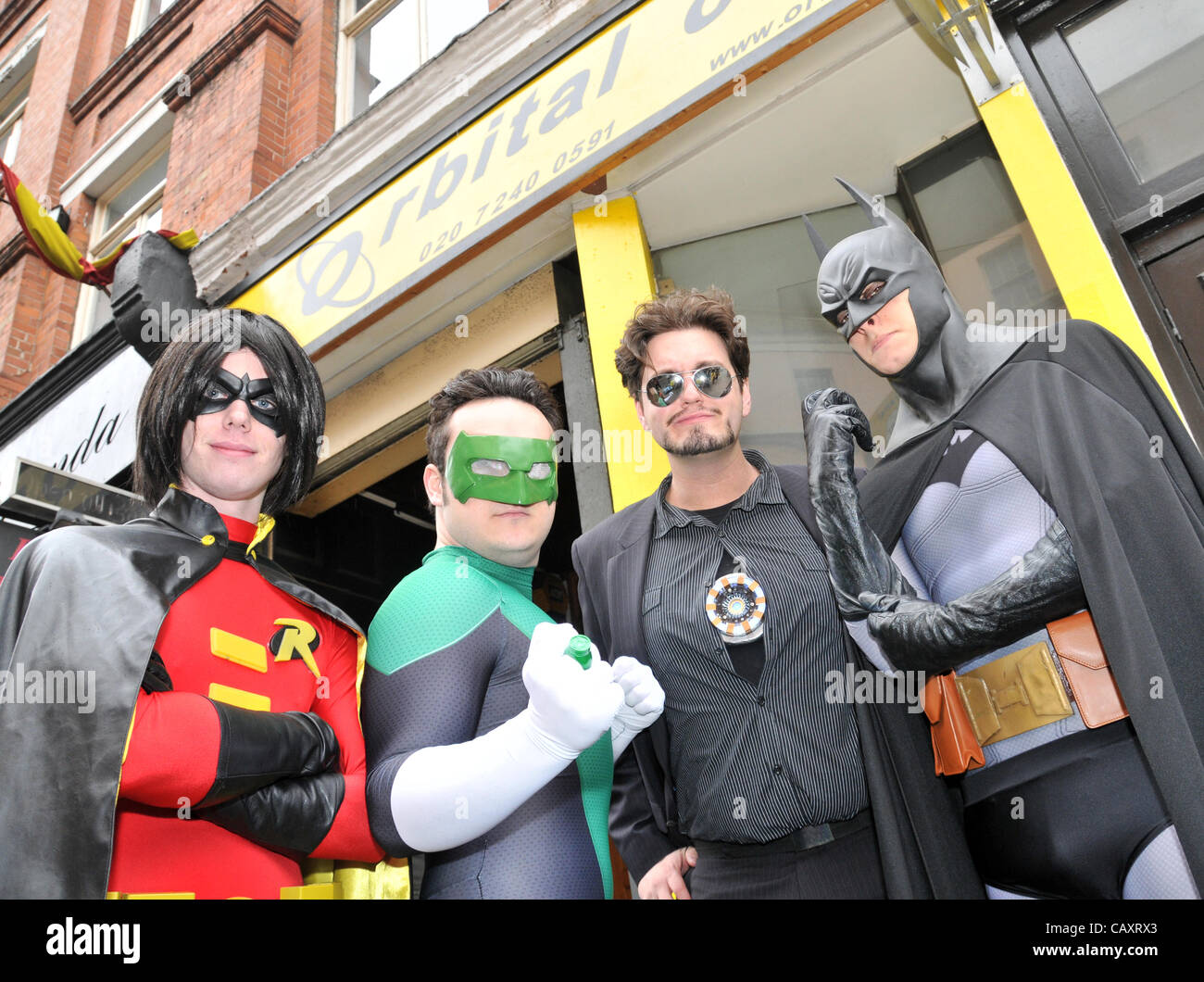 Performers from 'Heroes Alliance UK' dressed as Superheroes, including Batman and Robin as part of the Free - Stock Image