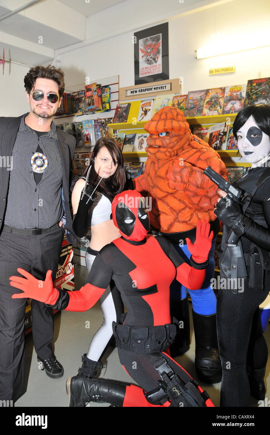 Performers from 'Heroes Alliance UK' dressed as Superheroes as part of the Free Comic Book Day London 2012 - Stock Image