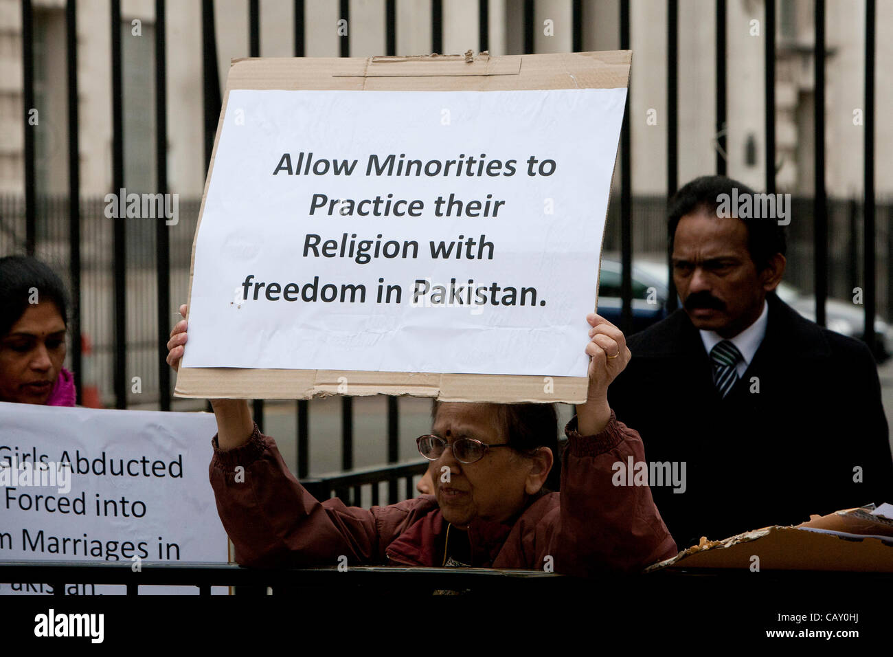 London, United Kingdom, 06-May-2012. Hindus demonstrating at Downing Street to highlight the plight of Hindu girls Stock Photo