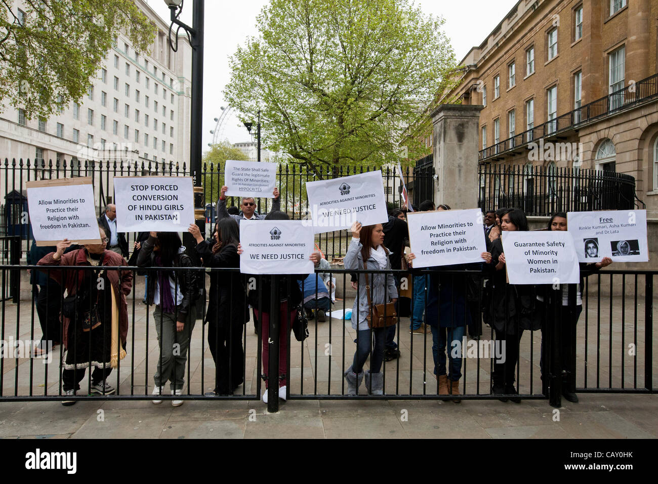 London, United Kingdom, 06/May/2012. Hindus demonstrating at Downing Street to highlight the plight of Hindu girls Stock Photo