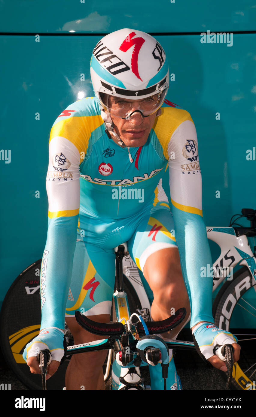 HERNING, Denmark - Saturday, May 5th, 2012: Team Astana rider Ronan Kreuziger from Kazakhstan is warming up before Stock Photo